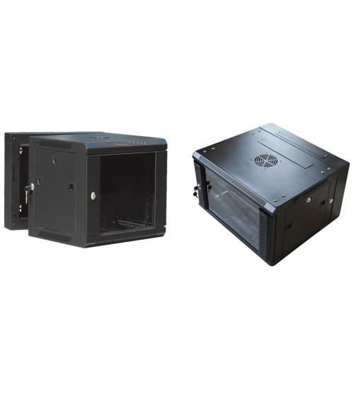 BNET Wall Double Section Cabinet 12U 600 x (500+100) With 2 Fans, 1 Fixed Shelf, Black 9005